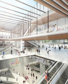 Kengo Kuma & Associates has won a competition to design Gare Saint-Denis Pleyel, one of 72 stations that will be built along a new stretch of Paris' Metro. Kengo Kuma, U Bahn Station, Train Station, Win Competitions, Paris Metro, Wood Architecture, Amazing Architecture, Ancient Architecture, Architecture Models