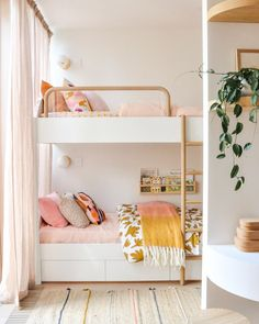 "Building Our Dream Home on Instagram: ""Fred's triple bunks! 💛💕🧡 Linen by @rachelcastleandthings  Curtains by @diyblinds  Bunks made by @joel_elliott_furniture & designed by us ✌🏼…"""