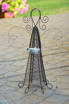 Světluška. / Zboží prodejce RoníkoVo | Fler.cz Wire Crafts, Crafts To Do, Arts And Crafts, Reindeer Decorations, Christmas Decorations To Make, Hanger Crafts, Wire Ornaments, Garden Angels, Plastic Hangers