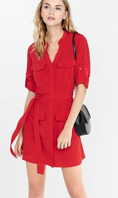 Red Four Pocket Military Shirt Dress from EXPRESS #BW #work #casual