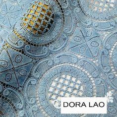 Braderie! 120 cm grande lumière bleu traditionnel style broderie découpe soluble dans l'eau dentelle tissu vêtements matériel de décoration