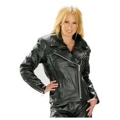 Xelement B8000 'Classic' Women's Black Leather Braided Jacket