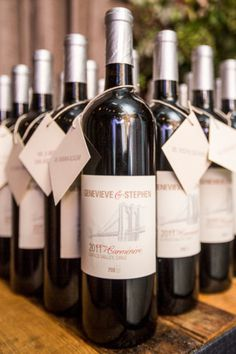 Custom Wine labels printed for wedding favors at Brooklyn Winery for this Eclectic Urban Wedding at Brooklyn Winery Gallery - Style Me Pretty