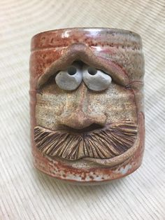 Handmade, whimsical stoneware mug. Oven, microwave, dishwasher and freezer safe. Clay Projects, Clay Crafts, Pottery Designs, Pottery Ideas, Ceramic Monsters, Face Jugs, Clay Mugs, Pottery Making, Stoneware Mugs