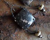 Assemblage Earrings, Primitive Tribal Earrings, Salvage Jewelry, Rustic Primitive Earrings, Vintage Tortoise Shell, Folk Jewelry