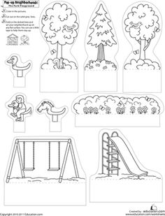 First Grade Paper Projects Worksheets: Pop-Up Neighborhoods: The Park Playground 2 Kids can make their own unique pop-up park complete with swing set, slide, and critter-filled trees with this cute grade arts and crafts printable. Cute Art Projects, Projects For Kids, Crafts For Kids, Arts And Crafts, Cuento Pop Up, Arte Pop Up, Paper Art, Paper Crafts, Foam Crafts
