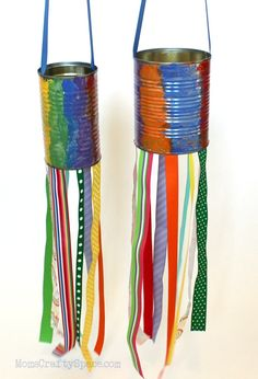 Make these cute crafts for kids in under 30 minutes using items that you probably already have at home. Checkout the list given below a great fun for the entire family. Recycled Tin Can Windsock… Tin Can Crafts, Easy Crafts For Kids, Summer Crafts, Cute Crafts, Crafts To Do, Projects For Kids, Diy For Kids, Arts And Crafts, Diy Projects