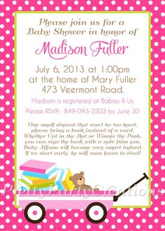 BRING A BOOK baby shower invitation  You by PrettyPartyCreations, $11.50