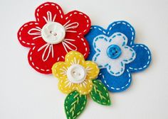 embroidered felt hair barrettes