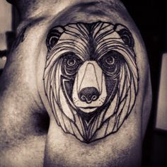 line art bear tattoo. Would look better if it were smaller and lower, possibly on the forearm