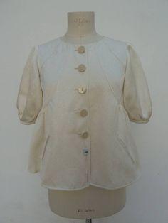 GIORGIO ARMANI vintage jacket silk woman 42 bolero 1990 ivory Armani Collezioni