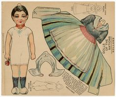 American paper doll, Dolls of the Nations: Holland, by J.V. Sloan|Boston Sunday Globe, circa 1909.