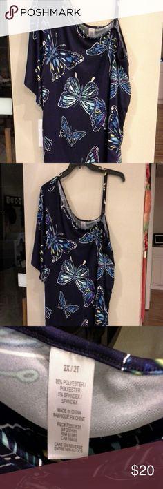 NWOT * Sexy blouse One shoulder short sleeve & adjustable left shoulder strap & ruched on strap side.  In excellent condition Tops