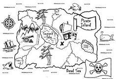 Pirate treasure map to colour