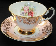 PARAGON RED STRAWBERRY PURPLE PINK FLORET GOLD TEA CUP AND SAUCER