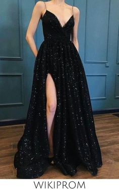 Sparkle Sequin Spaghetti Strap Black Long Prom Dresses With Slit Evening Dress, This dress could be custom made, there are no extra cost to do custom size and color Prom Dresses With Pockets, Grad Dresses, Prom Party Dresses, Dress Prom, Long Dresses, Lace Dress, Gown Dress, Dresses Dresses, Wedding Dresses