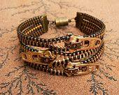 Uno Dos Tres Zipper Bracelet - Steampunk Bracelet - Cuff Bracelet