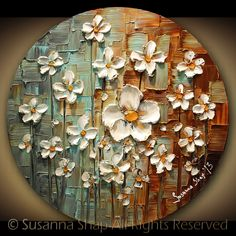 ORIGINAL Contemporary White Daisy Flowers Painting Abstract Textured Modern Art by Susanna. $225.00, via Etsy.