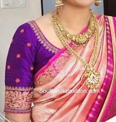 banarasi silk saree with maggam work blouse
