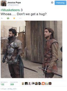 The Musketeers - Series III BtS filming via Jessica Pope's Twitter (Porthos & D'Artagnan)