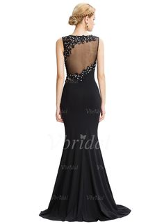 Trumpet/Mermaid Scoop Neck Sweep Train Beading Appliques Lace Split Front Chiffon Zipper Up at Side Regular Straps Sleeveless No Black Spring Summer Fall General Evening Dress