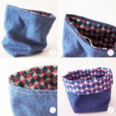 Un panier en tissu réversible – DIY – Best Pins Live Jean Crafts, Denim Crafts, Artisanats Denim, Diy Bags Purses, Denim Ideas, Creation Couture, Blog Couture, Recycle Jeans, Couture Sewing