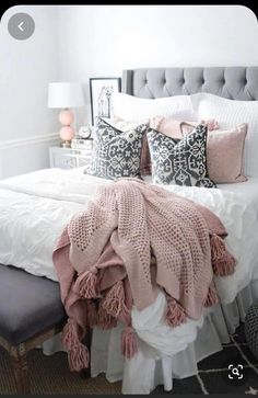 pink and grey bedding rachel puccetti. I am so excited to finally share my room reveal with you all! It has been one of my most requested posts! I hope this gives you a little room inspiration! Grey Bedroom Decor, Room Ideas Bedroom, White Bedroom, Bed Room, Master Bedroom, Modern Bedroom, Contemporary Bedroom, Light Pink Bedrooms, Bedroom Designs