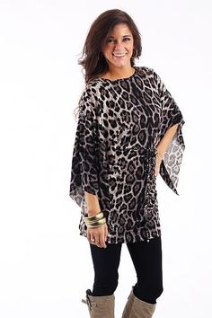 Leopard Kimono Top, Gray $42.50 We wish you could feel this tunic!! Talk about soft. And not to mention, it looks great too:) Just pair this with leggings for a super easy outfit. It doesn't hurt that you will look fabulous while wearing it!!   Fits true to size. Miranda is wearing the small.