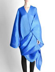 Issey Miyake Pleats Please Vintage Blue Pleated Multi-Functional Wrap - Amarcord Vintage Fashion