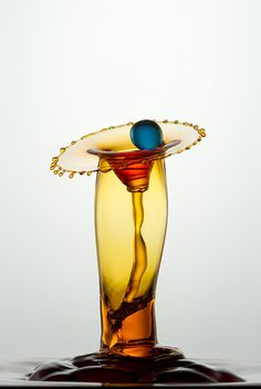 "•♥• ""Catch the Blue Drop"" ~ German photographer Heinz Maier's delicate macro high-speed water drop photographs."