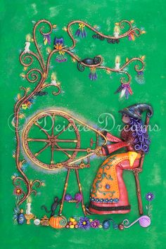 $20.00 #artprint #witch #spinningwheel #witchprint #witchart Spellbound This little witch loves spinning yarn. It relaxes her and helps her with her spells. All her yarns are infused with her magic, her good intentions and her blessings.