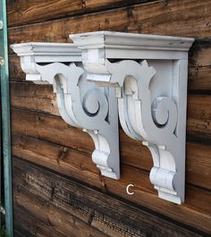 These corbels are handmade from reclaimed and new lumber offered in 3 finishes (rustic white, rustic black or unfinished) with a hole in the