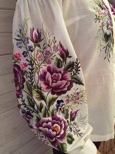 Embroidered blouse Lilac roses vyshyvanka mexican blouse w Embroidery Fashion, Crewel Embroidery, Embroidery Dress, Ribbon Embroidery, Embroidery Patterns, Embroidered Clothes, Embroidered Blouse, Mexican Blouse, Lilac Roses