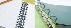 Should you get a binder or notebook? You choose based on the terms of convenience, adaptability, organization, aesthetics and cost. Notebooks, Journals, Start A Business From Home, College Life, Third Grade, College Students, Binder, Internet Marketing, Planners