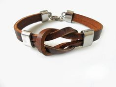 Brown Leather  Woven with Metal Buckle Women Leather Jewelry Bangle Cuff Bracelet 1273A. $8.00, via Etsy.