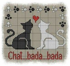 bada Free Cross Stitch Chart (French site with PDF) Cross Stitch Love, Cross Stitch Animals, Cross Stitch Charts, Cross Stitch Designs, Cross Stitch Patterns, Cat Cross Stitches, Cross Stitching, Cross Stitch Embroidery, Embroidery Patterns