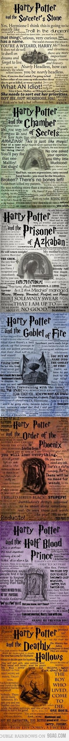 Harry Potter. The best quotes from each book. You bet I am printing these, laminating them, and hanging it in the kids room:)