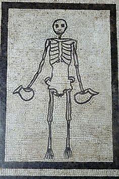 Skeleton mosaic at Pompeii
