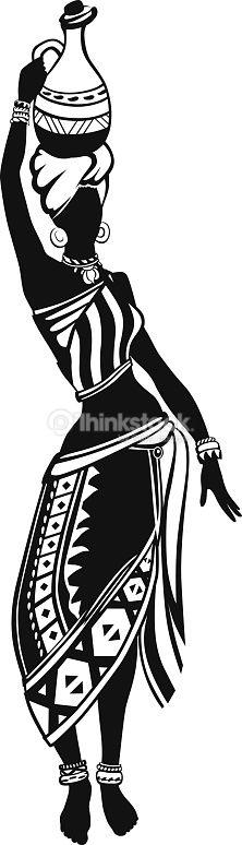 African woman in national costume is a pitcher on her head and dances. Baile de mujer africana étnica - arte vectorial de 2015 libre de derechos<br> African woman in national costume is a pitcher on her head and dances on the go African Drawings, African Art Paintings, Black Women Art, Black Art, Africa Tattoos, Coin Art, Africa Art, Black And White Painting, Silhouette Art