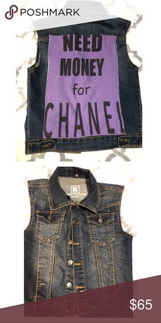 Need Money for Chanel girls XL denim vest Such a cute trendy piece for your little girl xl excellent condition!! It's adorable Jackets & Coats Vests
