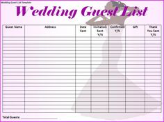 Printable Wedding Guest List Template Stunning Building Your Wedding Guest List  Guest List Wedding Advice And .