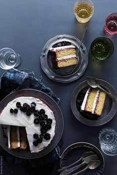 Black Tea Cake with Blackberry Lime Jam and Honey Whipped Cream via Bakers Royale