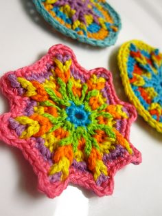 Crochet Appliques - Bright Colors. $6.00, via Etsy.