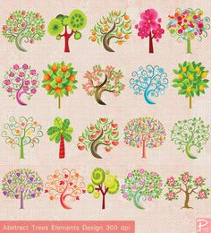 Abstract Trees Elements Design Clip Art - Card, Commercial- cpA466 - BUY 1 GET 1 FREE. $5.00, via Etsy.