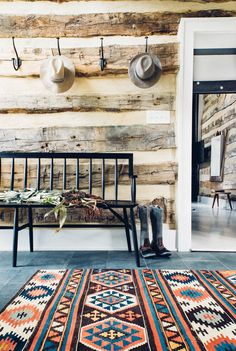 Cortney Bishop - Rug and slate. Simple and pretty.