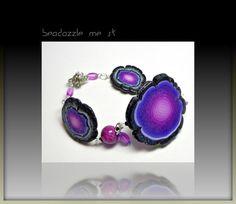 Polymer clay Purple Faux Geode Bracelet Organic by BeadazzleMe,