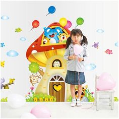 Lovely mushroom house wall sticker Supersize two-in-one Kids room background wall stickers removable cartoon wall decals