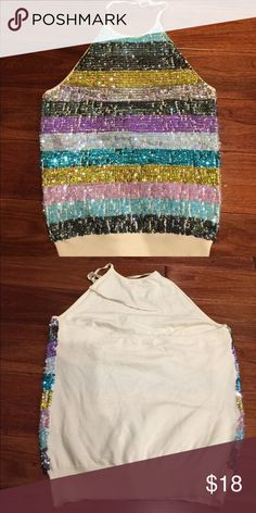❤️😍 SALE 😍❤ multi colored sequins top Multiple colored sequin halter top. Tops Tank Tops