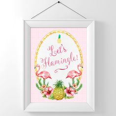 Let's Flamingle Sign Flamingo Sign Party by WestminsterPaperCo