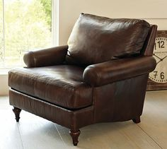 Austin Leather Armchair #potterybarn - this is what I want but in a chair and a half and a darker brown leather